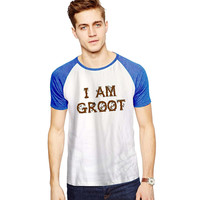 I am Groot the Guardians of galaxy root For Short Raglan Sleeves T-shirt, Red Tees, Black Tees, Blue Tees