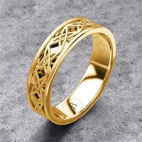 Infinity Celtic Knot Wedding Band 14k Yellow Gold Unique Mens Wedding Ring Eternity Band Solid Gold Ring 7mm Wide - Brushed Matte