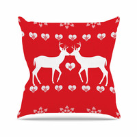 """Suzanne Carter """"Christmas Deer 2"""" Holiday Pattern Throw Pillow"""