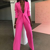 NATTEMAID Solid Formal 2 Piece Set Women Two Piece Set Top And Pants OL Business Pants Suits 2 Piece Outfits Sexy Two Piece Set