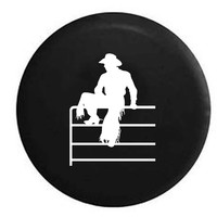 Rodeo Cowboy with Spurs & Hat On RV Camper Jeep Spare Tire Cover