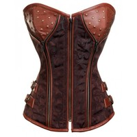 Brocade Steampunk Corset with Zip and Stud Detailing
