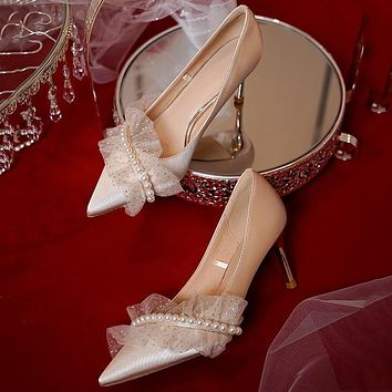 New stiletto wedding shoes, bridesmaid shoes, champagne color, party shoes