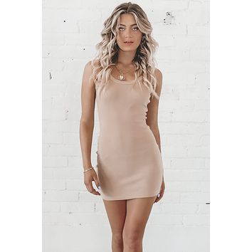 Let's Keep It Chill Nude Tank Dress