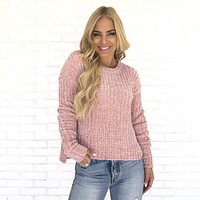 Sipping On Cocoa Pink Knit Sweater