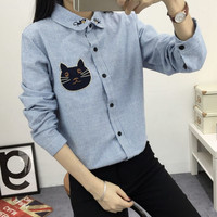 2016 New Spring and Autumn Women's Shirt Blouse Cat Embroidery Long Sleeve  Women Shirt's Casual Tops Size M-XL