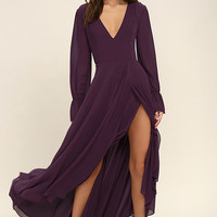 Bubbly Babe Plum Purple Backless Maxi Dress
