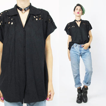 Vintage Bali Cutwork Blouse Black Rayon Blouse Cut Out Floral Embroidered Shirt Black Boxy Top Mesh Short Sleeve Button Up Shirt (S/M)