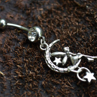 fairy on moon belly ring star charm in fantasy boho gypsy hippie and hipster style