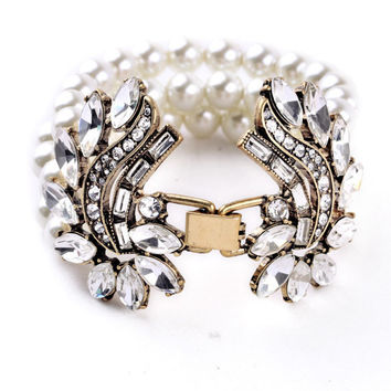 Crystals and Pearls Statement Bracelet