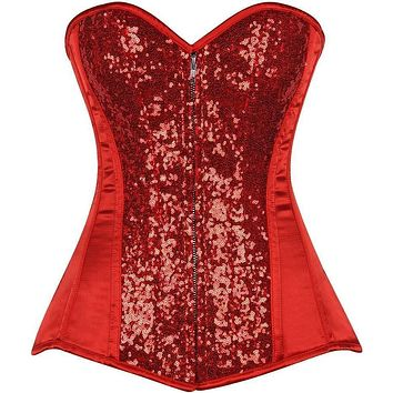 Daisy Corsets Top Drawer Red Sequin Steel Boned Corset