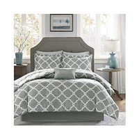 Madison Park Essentials Merritt Complete Bed And Sheet Set - Grey - Full