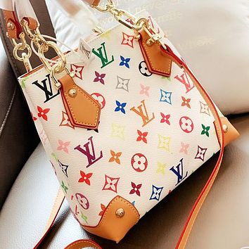 LV New fashion multicolor monogram print leather bucket bag shoulder bag crossbody bag handbag