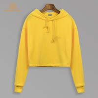 Autumn 2018 Solid Color Cropped Hoodies Women Short Style Sweatshirts Female Black Blue Grey Yellow Camel Turquoise Pullovers