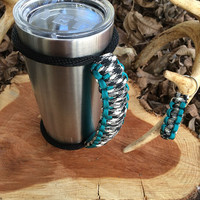 Paracord Yeti Rambler Handle Grip for 20 or 30 oz. Hound's Tooth / Teal with free matching keychain