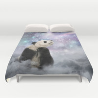 My Thoughts are Stars • (Panda Stargazer) Duvet Cover by soaring anchor designs ⚓ | Society6