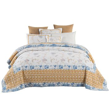 Tache Cotton Patchwork Embroidered White Blue Yellow Floral Winter Frost Quilt (JHW-668)