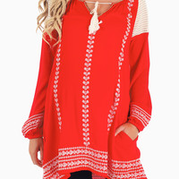 Red Embroidered Accent Bohemian Maternity Tunic