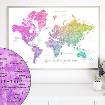 Custom quote world map print - colorful gradient watercolor world map with cities. Color combination: Leo