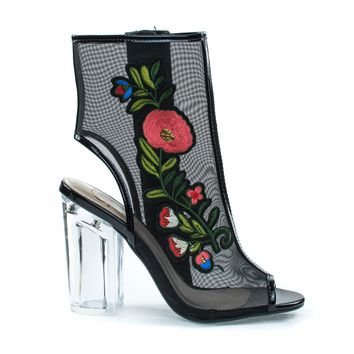 Ylang Black By Delicious, Floral Embroidery Patch, Lucite Perspex Block Heel See Through Mesh Bootie