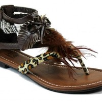 Kali Footwear Women's Point Animal Print Feathered Flat Thong Ankle Sandals