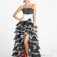 A-Line Strapless Organza Black Long Prom Dress/Evening Gowns With Beading VTC244