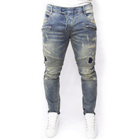 Plus Size  Casual Mens Jeans Skinny Slim Biker Jeans  ripped jeans homme