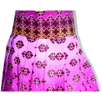 Purple African Ankara print High Waist Mini Skirt