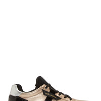 Dolce And Gabbana Gold Leather And Neoprene Sneakers
