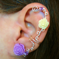 "Non Pierced Cartilage Cuff  ""Roses are Feminine"" Ear Conch Cuff Color Choices Wedding Prom Quinceanera"