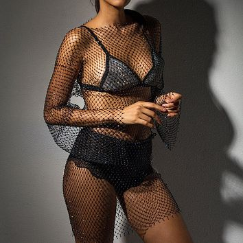 Black Crystal Sexy Bodycon Dress Women Hollow Out Long Sleeve Mini Dress 2020 Summer  See Through Party Dress