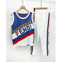 Fendi New Fashion Summer More Letter Print Contrast Color Top And Pants Sports LeisureTwo Piece Suit Blue