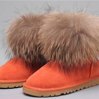 UGG Fox Fur Mini Boots 5854 Orange
