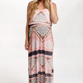 Pink Aztec Printed Maternity Maxi Dress