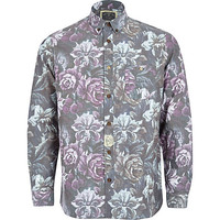 River Island MensPurple Holloway Road floral print shirt