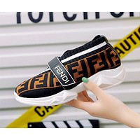 Fendi thick bottom wild muffin bottom breathable flying woven shoes