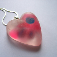 Pink Resin Pendant , Heart Necklace , Resin Necklace Jewelry , Pink Spots Pendant Valentines Locket  Australia , Womans Resin Jewellery