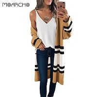 MOARCHO Long Sleeve Knitted Cardigan 2017 New Autumn Winter Long Casual Cardigans Female Coat Loose Outwear Women Sweater