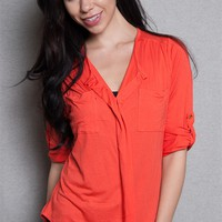 Love Nation Stretch Knit Jersey V-Neck Shirt With Roll Sleeves - Orange