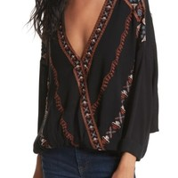 Free People Crescent Moon Embroidered Blouse | Nordstrom