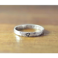 Ring, Secret Message Ring, Tiny Ring, Promise Ring, Dainty Ring, Hammered Ring, Message Ring, Delicate Ring, Silver Ring