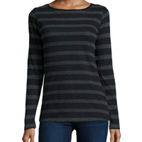 Long-Sleeve Striped Cotton/Cashmere Tee, Size: