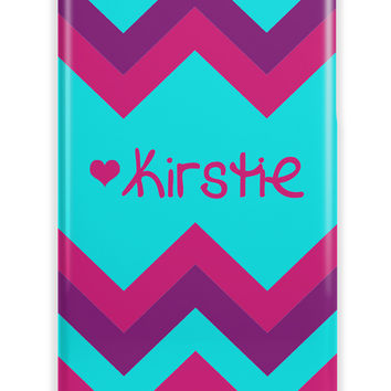 RAINBOW CHEVRON WITH HEART - MONOGRAMMED IPHONE CASE