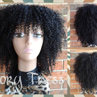 ON SALE // Custom Kinky Curly Bohemian Full Wig with Bangs, 100% Unprocessed Brazilian Virgin Remy Human Hair // NATURAL1