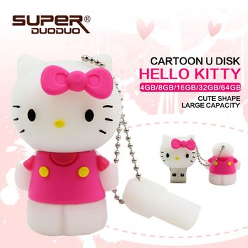 Lovely hello kitty pen drive cartoon  pendriver  4g 8g 16g 32g 64g  pen drive usb flash drive gift external storage