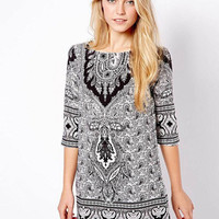 Gray Retro Print Tunic Mini Dress