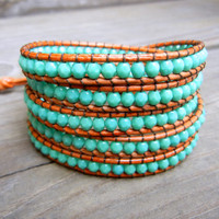 Beaded Leather Wrap Bracelet 4 or 5 Wrap with Turquoise Czech Glass Beads on Genuine Light Brown Leather Southwestern Style