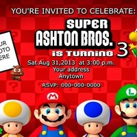 12 Super Mario Bros birthday party invitations personalized custom PRINTED