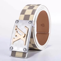Louis Vuitton LV Fashion New Monogram Check Leather Women Men Leisure Belt