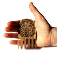 Star Wars Chewbacca Beard Comb Wooden Mustache Comb Gift idea Men For Him Fathers Day Gift Gift for Him Husband Gift Friend Gift